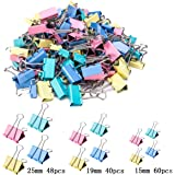 iDream365 Binder Clips - Paper Clamps Assorted 3 Sizes, 4 Colors,Paper Binder Clips, Metal Fold Back Clips for Office, School