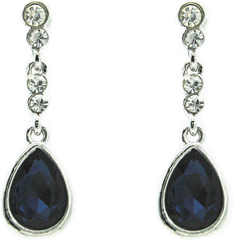 Chapado en platino pulido oscuro azul cristal pendientes de gota estilo Swarovski presente