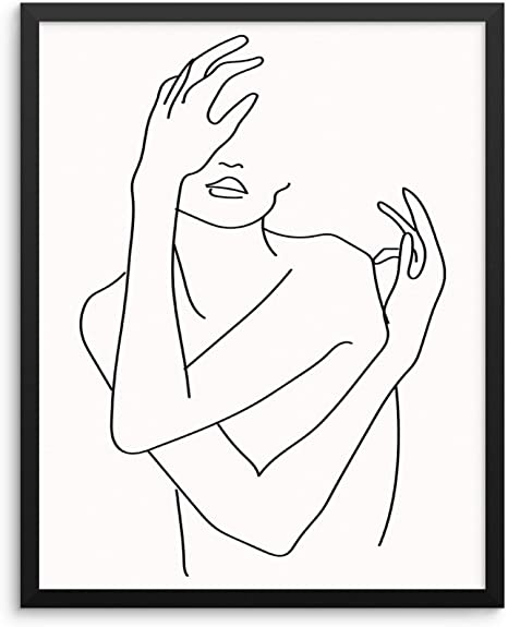 ONE LINE ABSTRACT FACE FIGURE Wall PrintHome Decor Wall Art Picture Poster