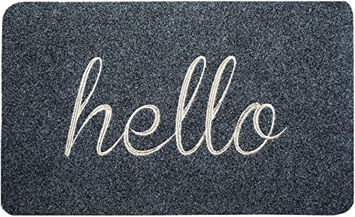 BIGA Hello Large Front Welcome Entrance Door Mats for Indoor Outdoor Entry Garage Patio High Traffic Areas Shoe Rugs