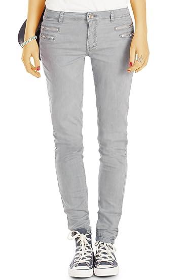 bestyledberlin Damen Slim Fit Hüftjeans, Schmale Jeans, Basic Grey Röhrenjeans j75f