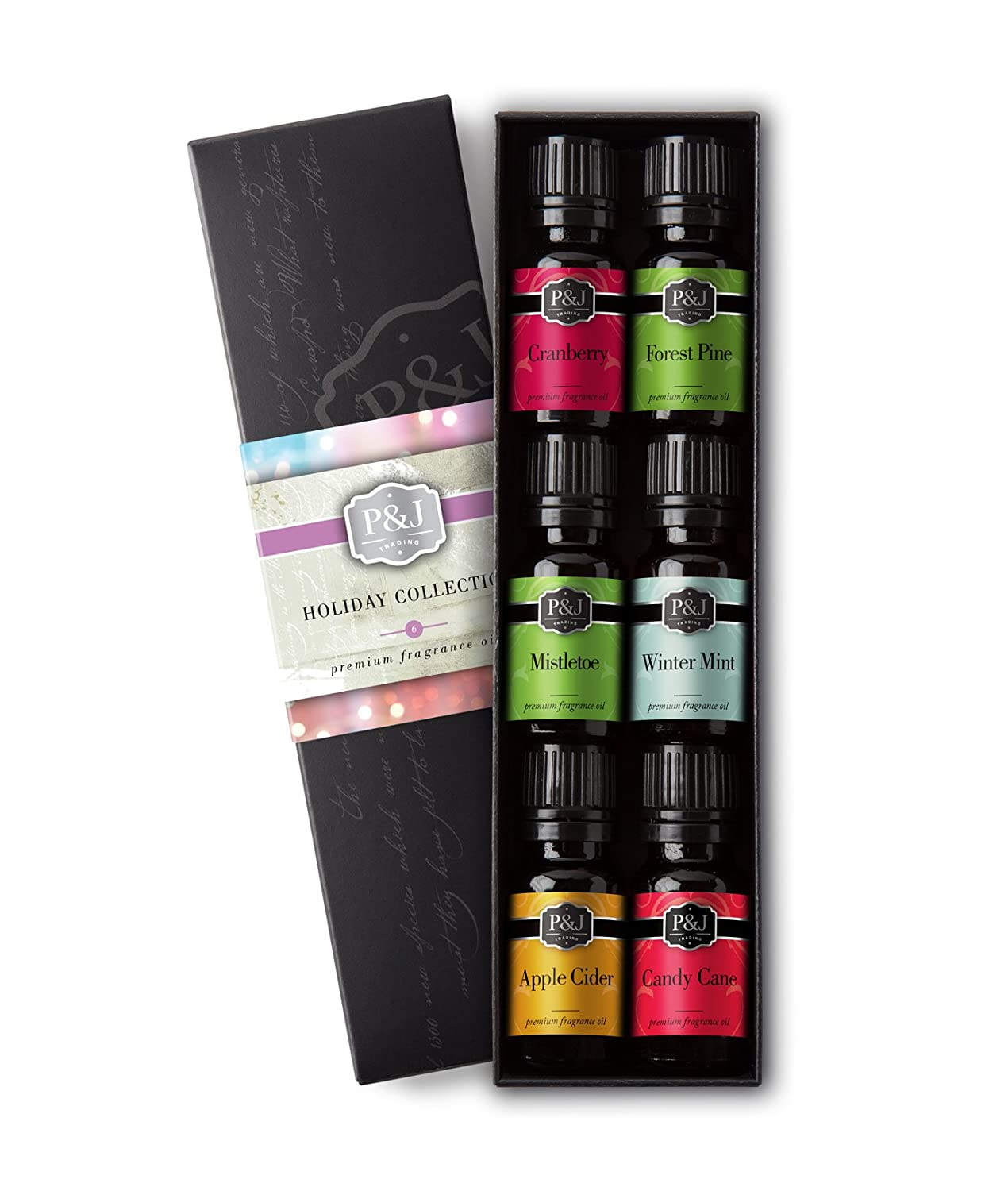 Holiday Set of 6 Premium Grade Fragrance Oils - Mistletoe, Candy Cane, Wintermint, Apple Cider, Cranberry, and Forest Pine - 10ml P&J Trading
