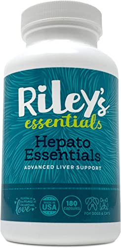 Riley s Essentials Hepato Support with Milk Thistle for Dogs and Cats – Liver Support Supplement for Dogs with Milk Thistle, Silymarin, and Antioxidants – Complete Dog Liver Supplement – 180 Caps