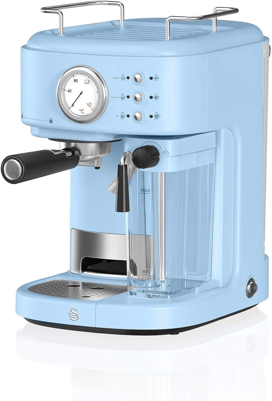 Swan Retro Semi-Automatic Espresso Coffee Machine, Blue, 20 Bars of Pressure, Milk Frothing Steamer, 1.7L Tank, Retro style, SK22150BLN