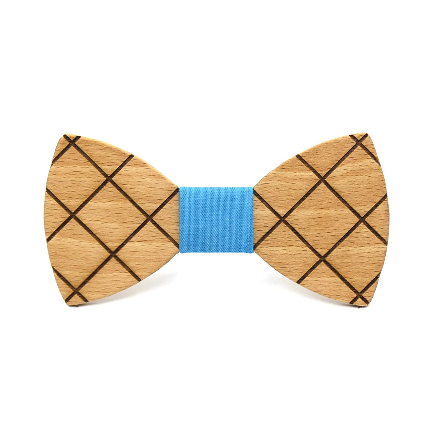 Handmade with geometric design Wedding fashion for men Wooden bow tie Cross