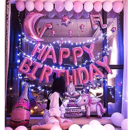 HNHX Feliz Cumpleaños Fiesta Globos Decoración Chica Novio ...