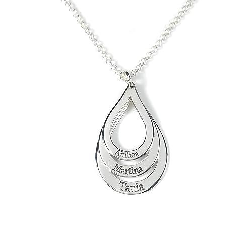 2918e97acf14 Collar tres aros forma gota con nombres en plata de ley 925 Personalizado  ENVÍO GRATIS