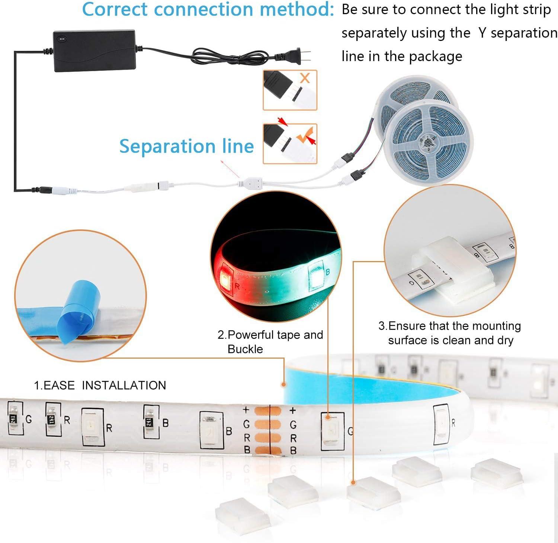 LED Strip Lights,Bluetooth Music LED Light Strip,32.8ft RGB LED Lights App Controlled SMD 2835 DC 12V LED String Lights for Room Party No Remote