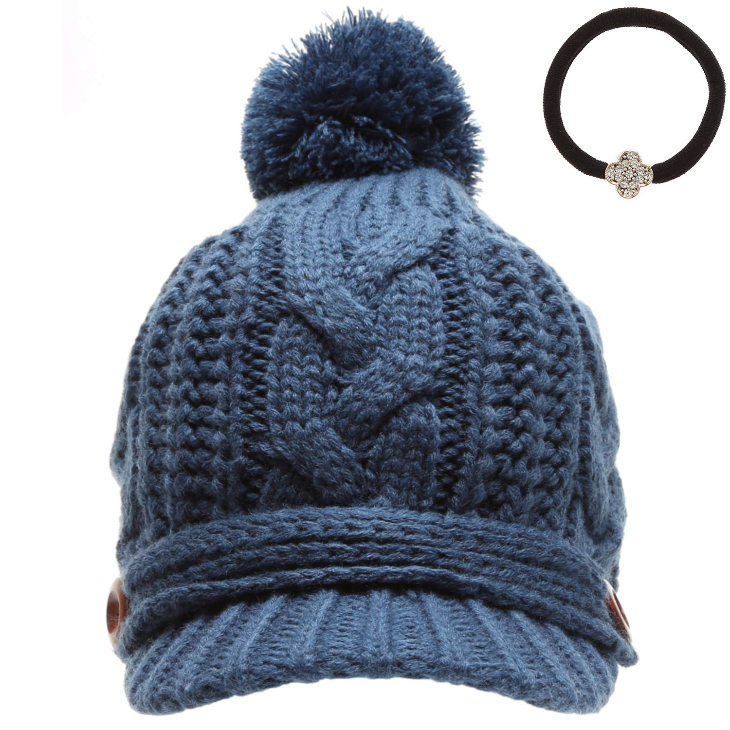 MIRMARU Women's Thick Cable Knitted Beanie Visor Cap Button Pom Pom with Scrunchy (Teal)