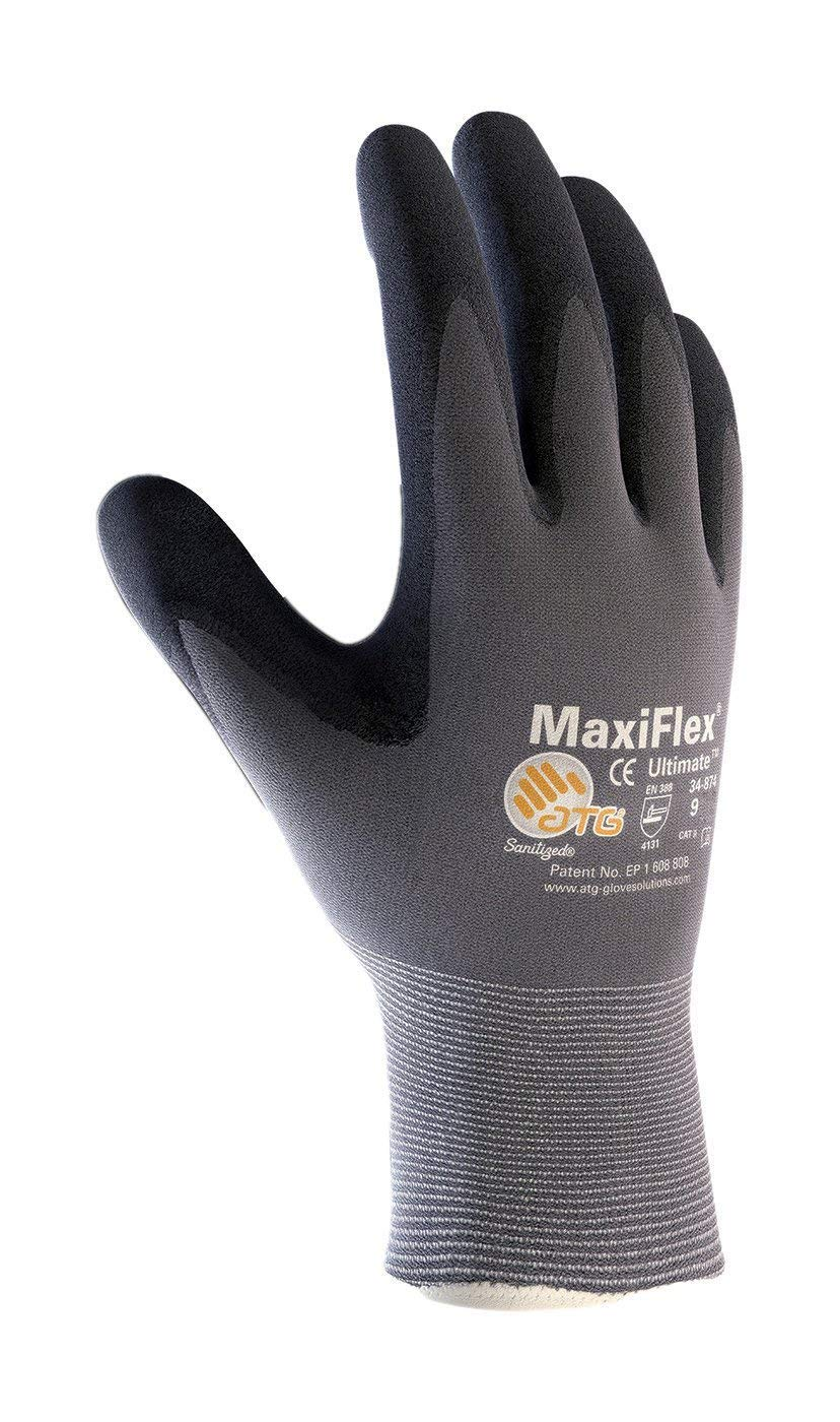MaxiFlex Ultimate 34-874/M Seamless Knit Nylon/Lycra Glove with Nitrile Coated Micro-Foam Grip on Palm and Fingers ATG ATG 34-874 - MEDIUM PIN34874M