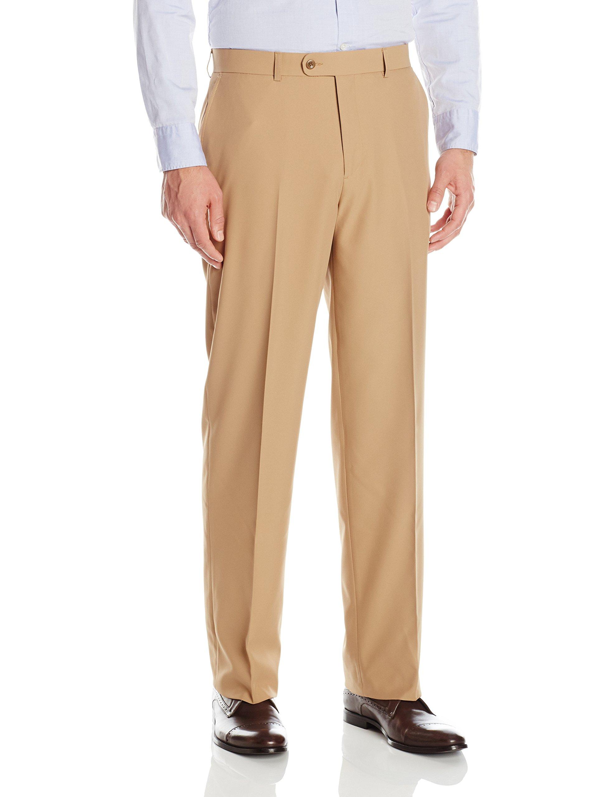 Linea Naturale Men's Flat Front Washable Microfiber Twill Trouser, Camel, 38W by Linea Naturale