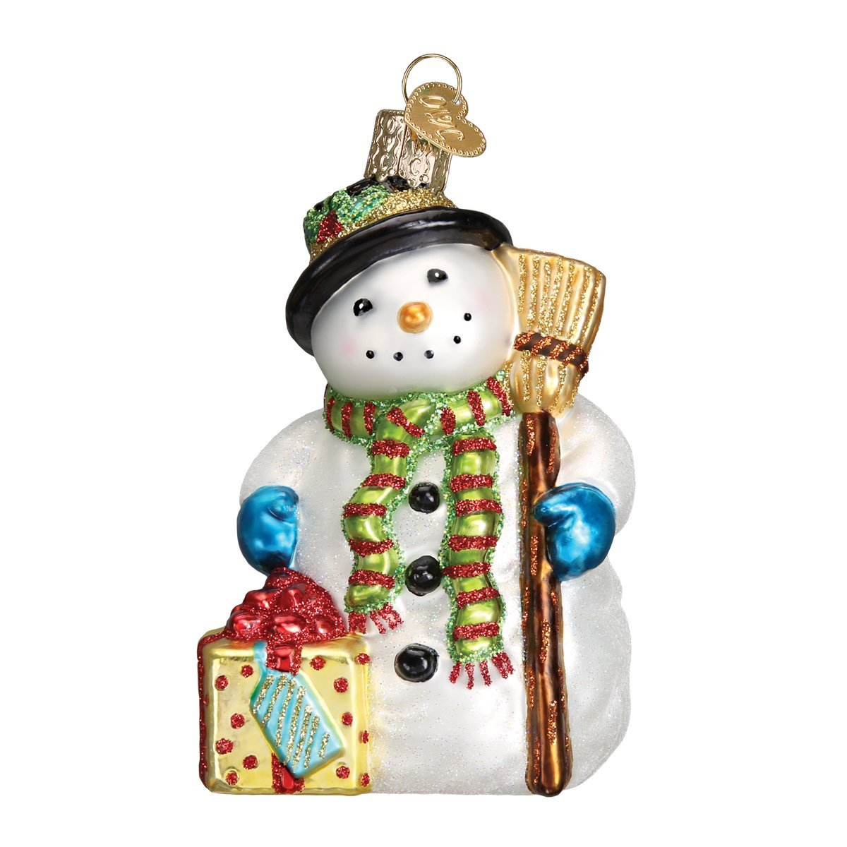 Old World Christmas Ornaments: Gleeful Snowman Glass Blown Ornaments for Christmas Tree 24164