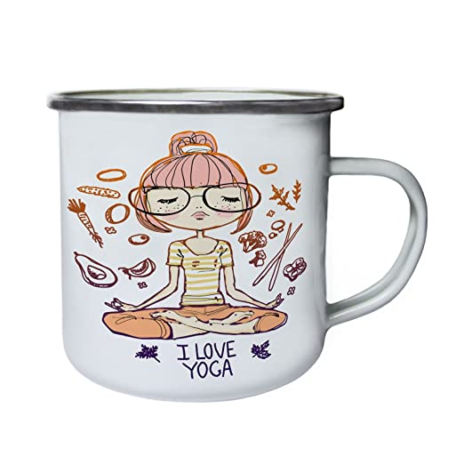 Amo la meditación de yoga relajante Retro, lata, taza del ...