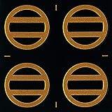 蒔絵シール 家紋ステッカー 「丸に二つ引き/GD 24mm」 金 4個付