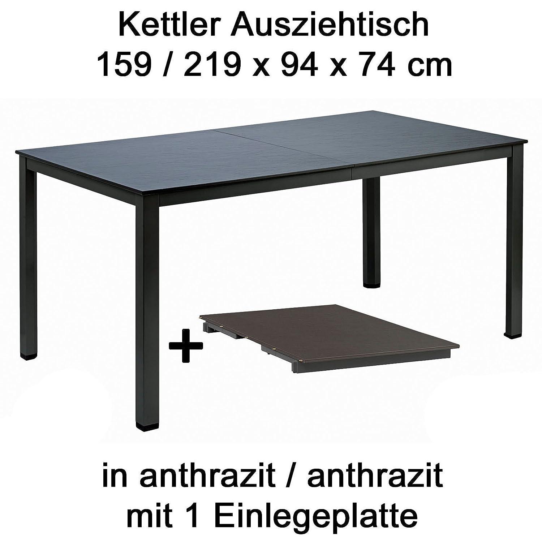 Kettler Ausziehtisch 159 bis 219 cm x 94 cm in anthrazit Gartentisch ...