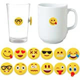 MelonBoat Emoji Wine Charms for Glasses, Universal Drink Markers with Suction Cup, 12 Pack