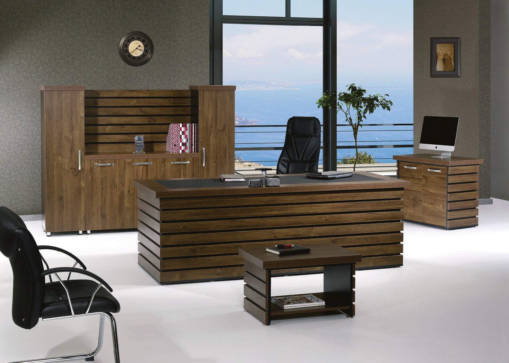 Casa Mare Modern Elise 4 Pieces Office Furniture Set | Home Office Furniture | Office Desk | Executive Desk | Rustic Brown & Black (87'') by Casa Mare