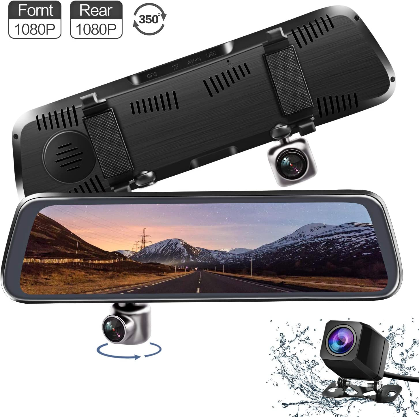 Mirror Dash Cam, V35 10 Inches Touch Screen FHD 1080P Dual Lens 350 Degrees Rotating Front & Waterproof Rearview Camera Stream Media Dashboard Camera with Parking Mode G-Sensor Reverse Assistance