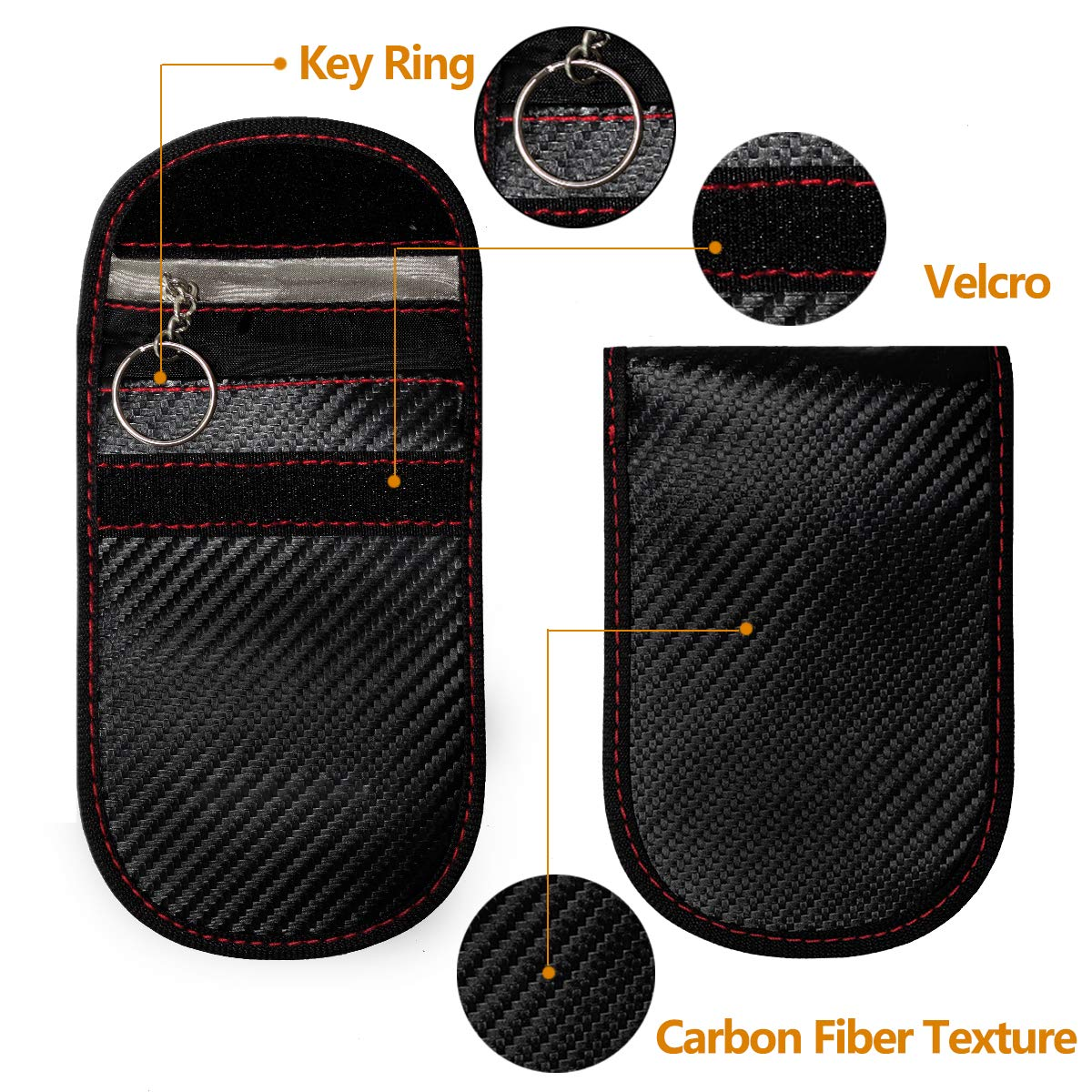 RFID Signal Blocker Carbon Fiber Texture Anti-Hacking Case ID Guard 2-Pack UCIN Faraday Key Fob Bag Antitheft Card Pouch Security Wallet for Remote Car Starter Car Key Protector