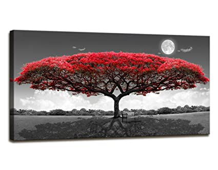 Amazon Com Wall Art Red Trees For Living Room Decor Forestl Canvas