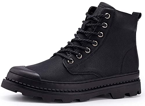 HYJ Mens Work Boots Round Toe Leather Non-Slip Safety Shoes Comfortable  Martin Boots Casual 0f0b3a96ec07