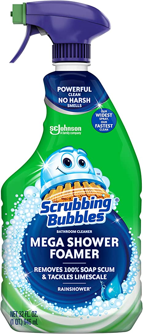 Amazon Com Scrubbing Bubbles Mega Shower Foamer Disinfecting Spray Multi Surface Bathroom And Tile Cleaner Grime Fighter Removes 100 Soap Scum Rainshower Scent 32 Oz Home Kitchen