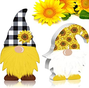 Jetec 2 Pieces Sunflower Gnome Wooden Sign Summer Fall Thankful Buffalo Plaid Sunflower Farmhouse Tiered Tray Elf Gnome Decor Kitchen Party Birthday Table Decorations for Office Home Decoration