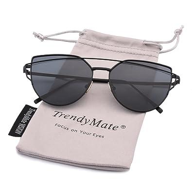 bb279a5c8ab7 TrendyMate-Womens Street Fashion Metal Twin Beam Flat Mirror Lens Cat Eye  Sunglasses … (