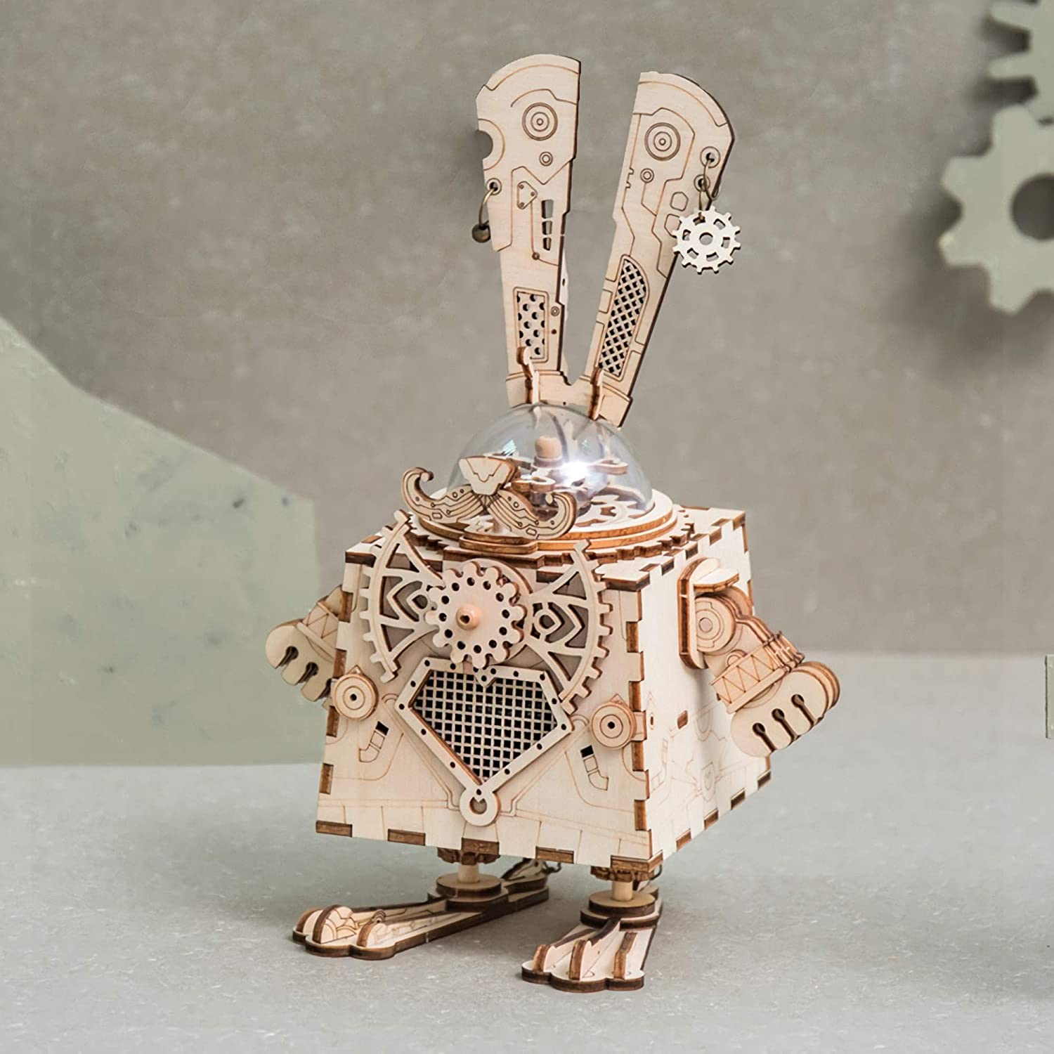 Creative Birthday Adults Model Kits DIY Punk Construction Model Kits Rabbit Toys for 8 Year Old and Up ROBOTIME Bunny Music Box 3D Jigsaw Puzzle to Build Laser Cut Wooden Model Kit