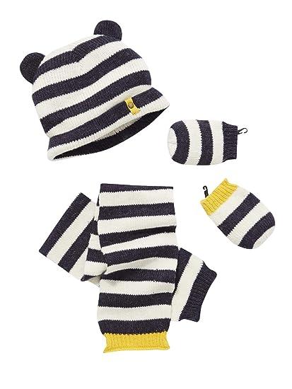 e4ee7cfa20c VERTBAUDET Bonnet + écharpe + moufles bébé garçon rayure irisée Anthracite  rayé 12 18M -