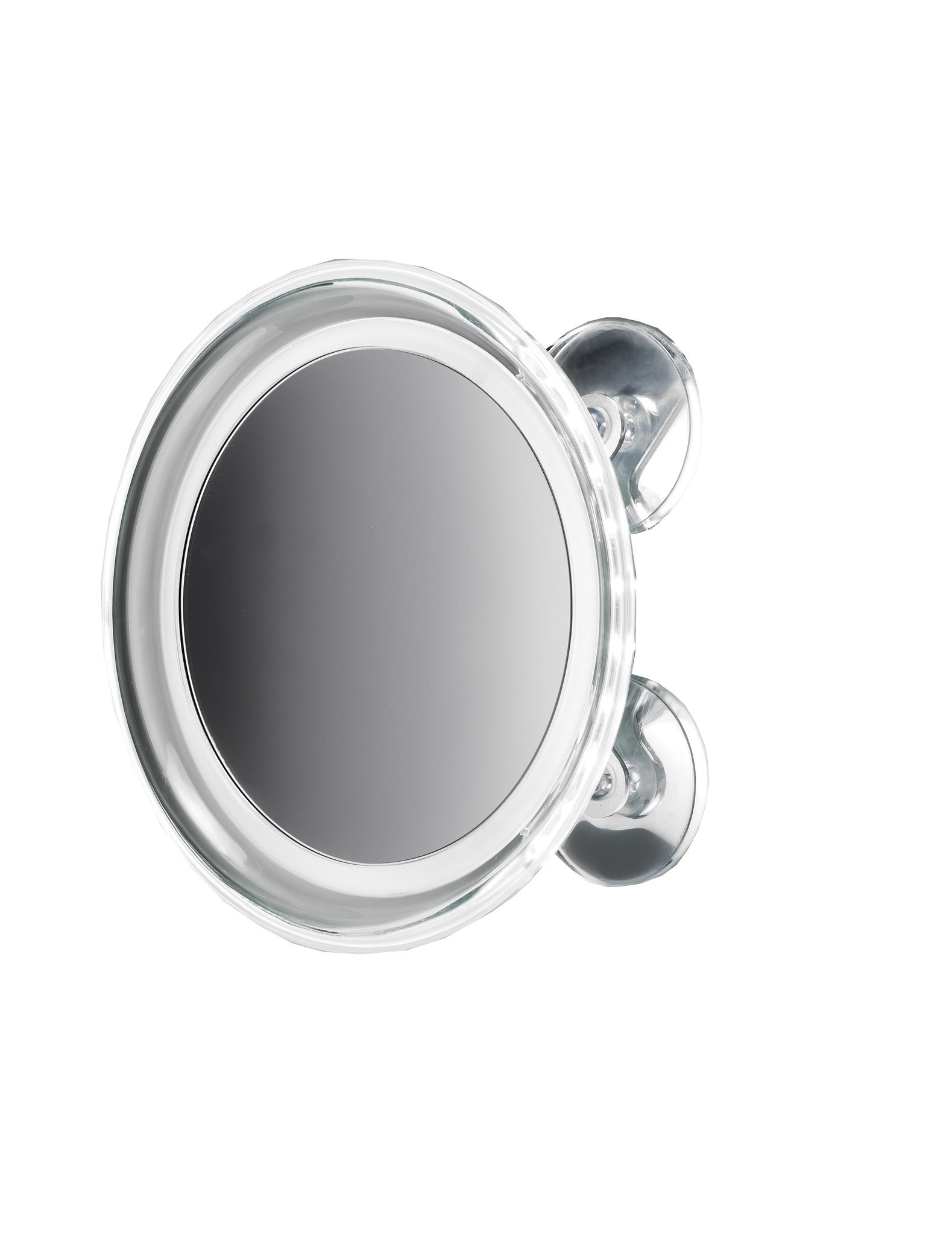 DWBA 8'' Round Suction cup 5x Cosmetic Makeup Magnifying LED light Mirror, Chrome