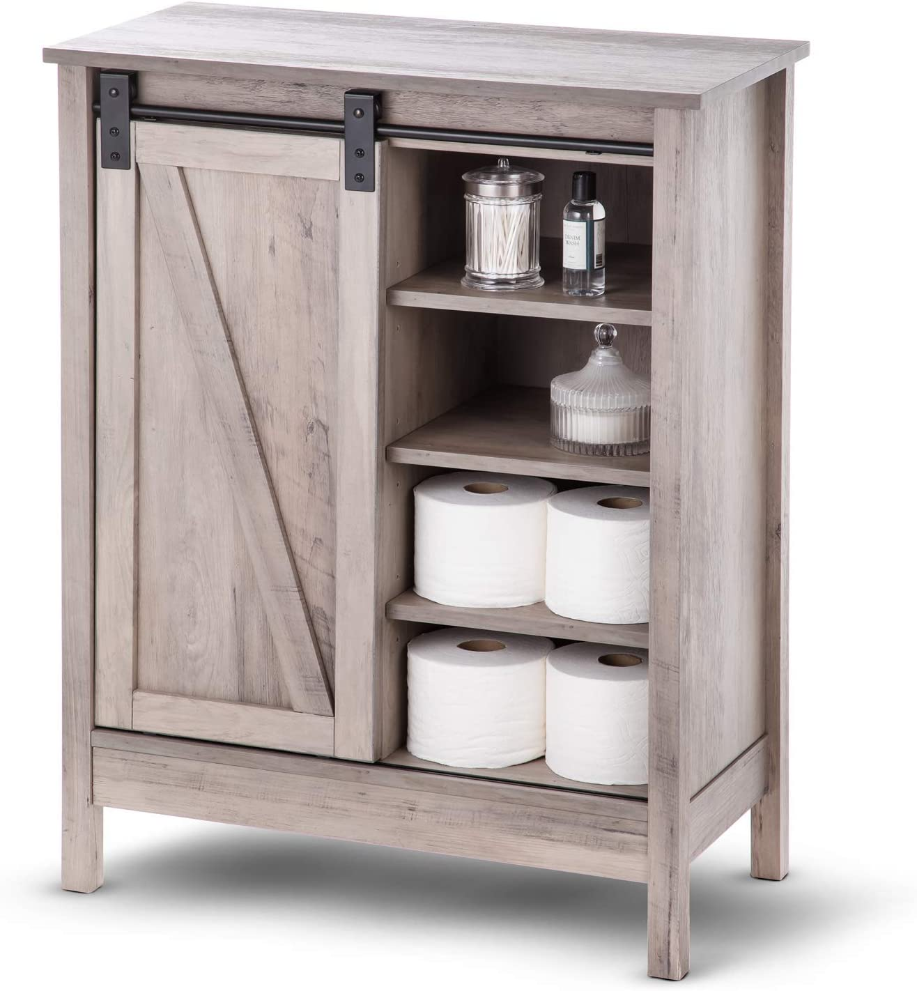 Landia Home Bathroom Storage Cabinet Organization And Storage With Sliding Barn Door Amazon Com