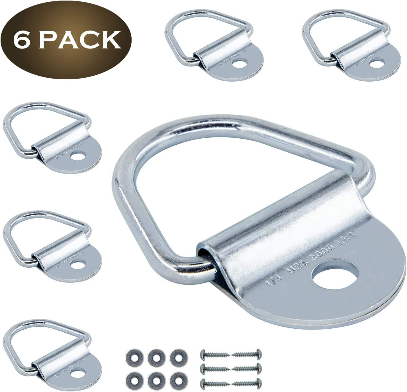 Trailers 6 PCS V-Ring Tie Down Anchors 2 inches Diameter/Steel Bolt-on D-Rings for Cargo on Trucks /Replacement for D-Ring Plastic Flush Mount Pan Fitting Tie Down Anchors Pickups