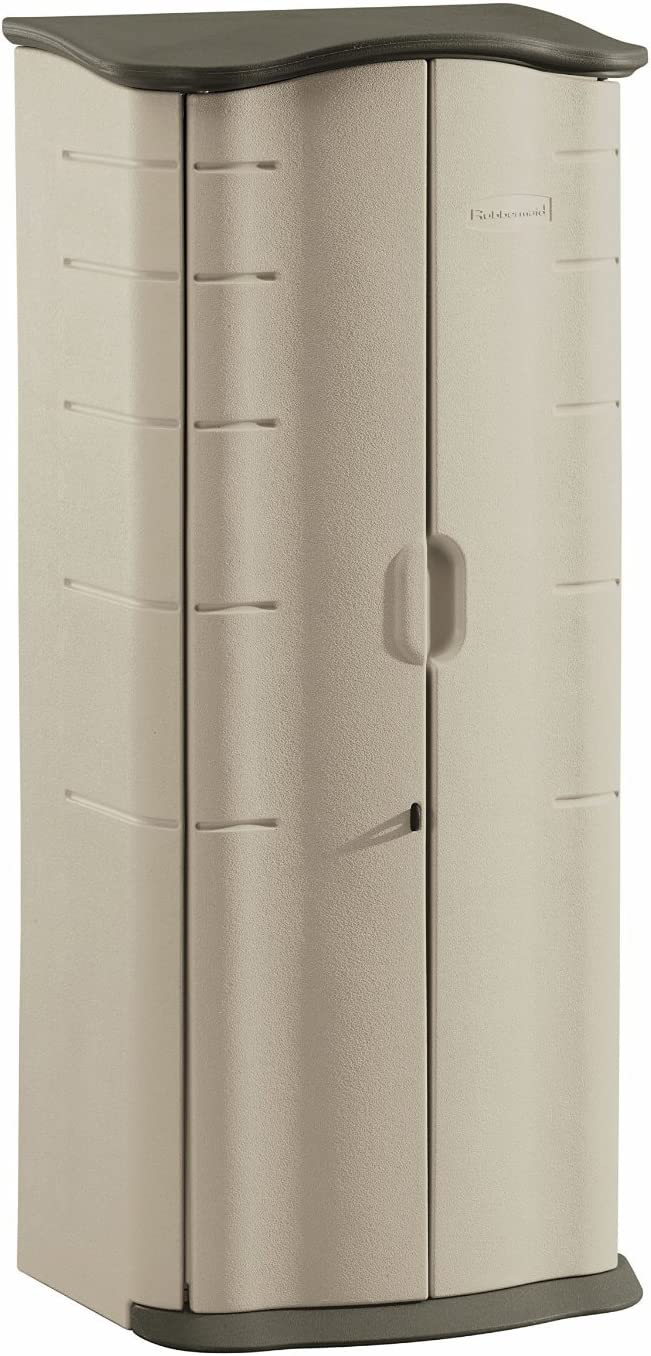 Rubbermaid FG374901OLVSS Vertical Storage Shed, Small, Beige