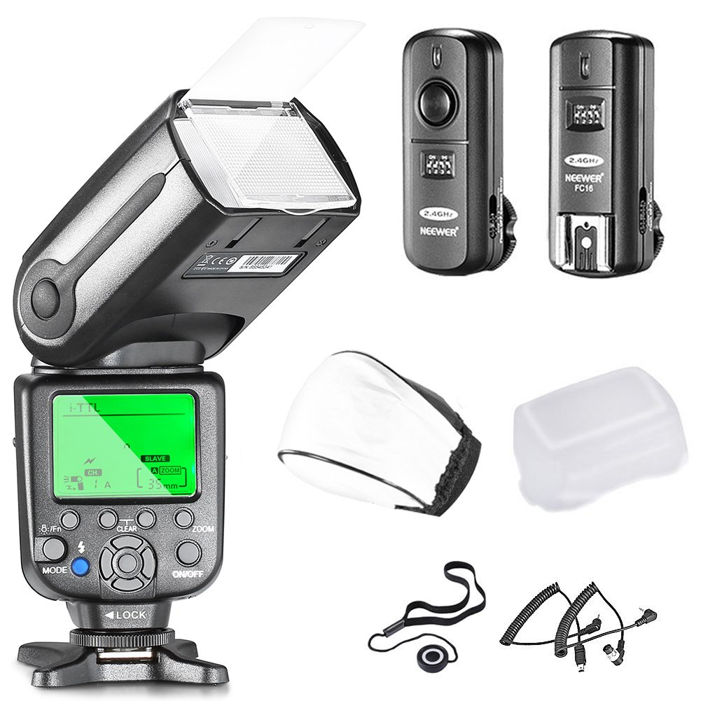 Neewer NW565EX i-TTL Slave Flash Kit for Nikon DSLR Camera Such as D7100 D7000 D5300 D5200,Include:(1)NW565N Flash +(1)2.4GHz Wireless Trigger+Hard&Soft Flash Diffuser+Lens Cap Holder+N1&N3 Cable by Neewer