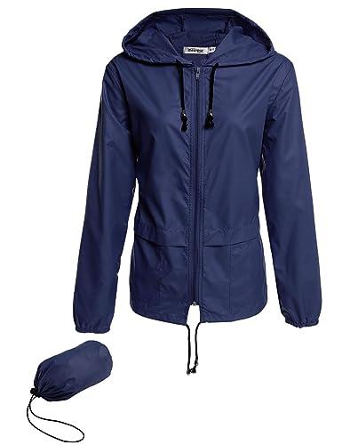 Lonlier Ropa de abrigo impermeable chubasquero de las mujeres