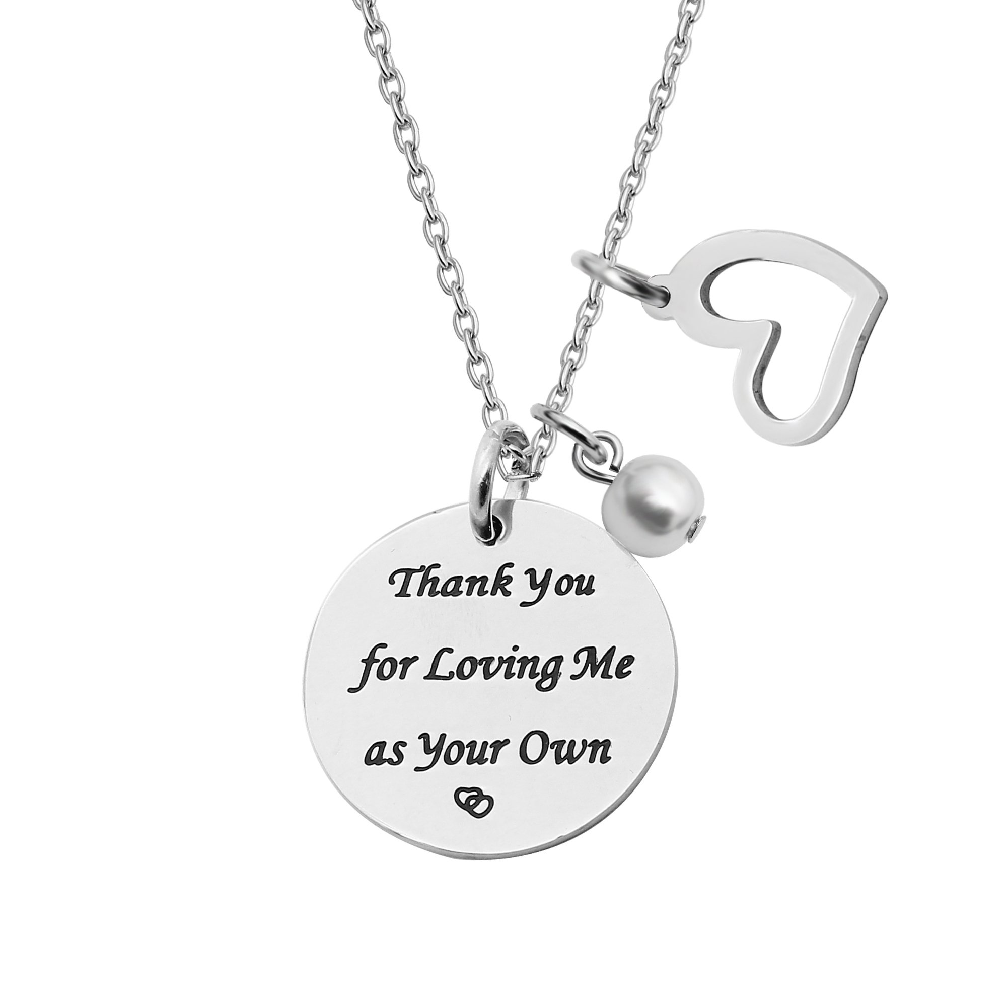 Pendant Necklace Mother Step Mom Gift Wedding Anniversary Thank You For Loving Me As Your Own
