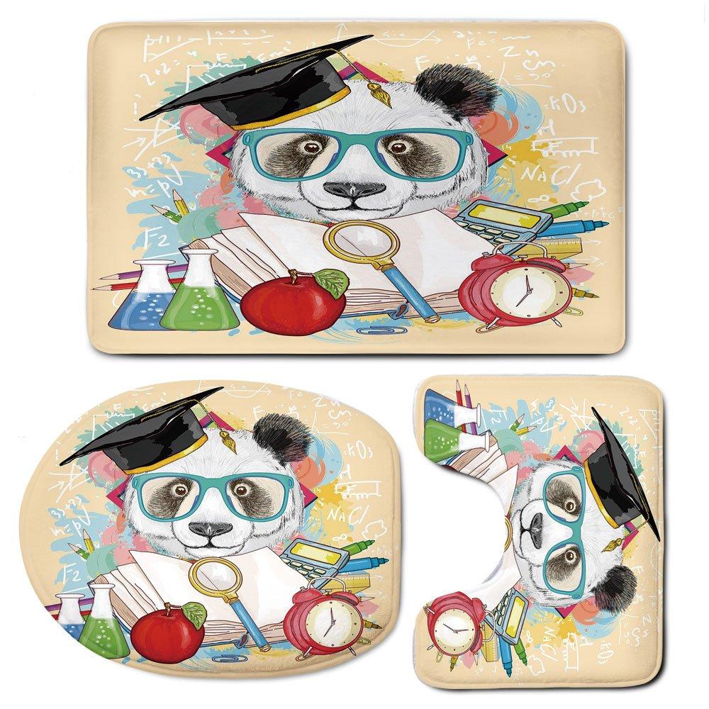 3 Piece Bath Mat Rug Set,Animal,Bathroom Non-Slip Floor Mat,Panda-Goes-to-School-Humor-Education-Hipster-with-Glasses-Books-Pen-Graphic-Art,Pedestal Rug + Lid Toilet Cover + Bath Mat,Multicolor
