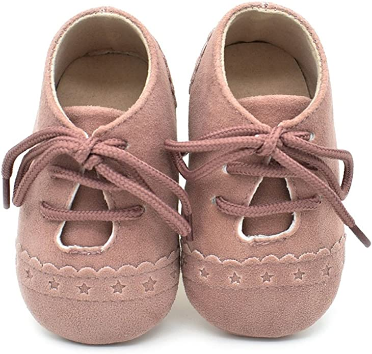 Image of Zapatos de bebé, Zapatillas de bebé niño Anti-Slip Suave Suela de Encaje Zapatos 0-18 Meses
