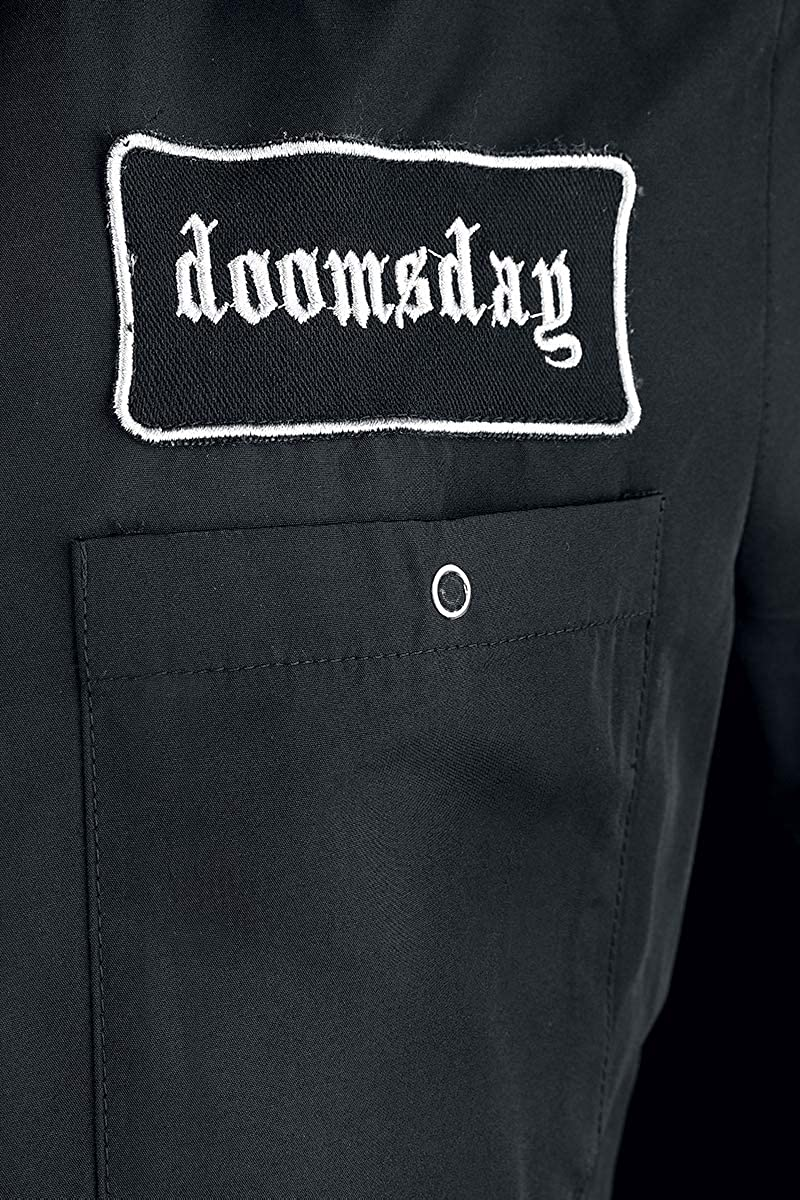 Doomsday Trimmed Workshirt Hombre Camisa Manga Corta Negro, Labelpatch Regular: Amazon.es: Ropa y accesorios