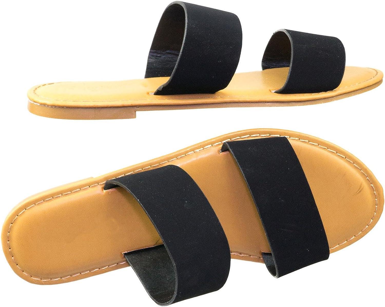 Double Wide Strap Slip On Slipper Flat