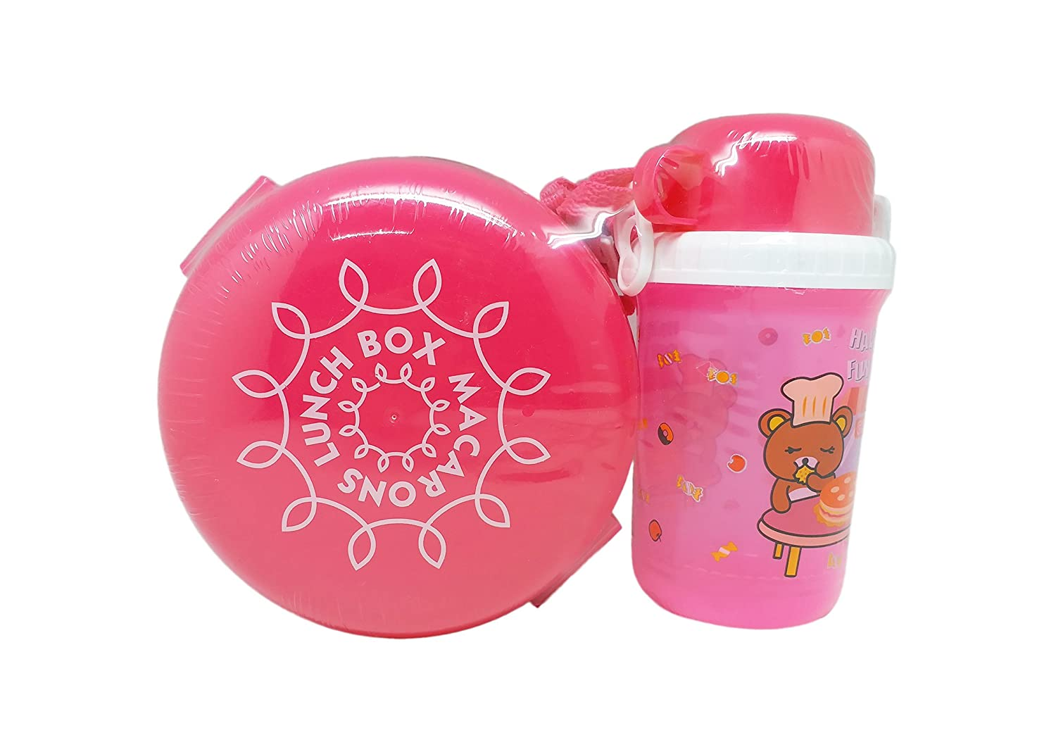 Tuelip Plastic Single Layer Round Shape Lunch Box with Water Bottle (GP-156-Macarons-Lunch-Box-&-bottle-Pink)