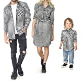 2680ff88 Mother Father Kids Family Matching Shirt Dress Casual Plaid Family Clothes  with Chest Pockets