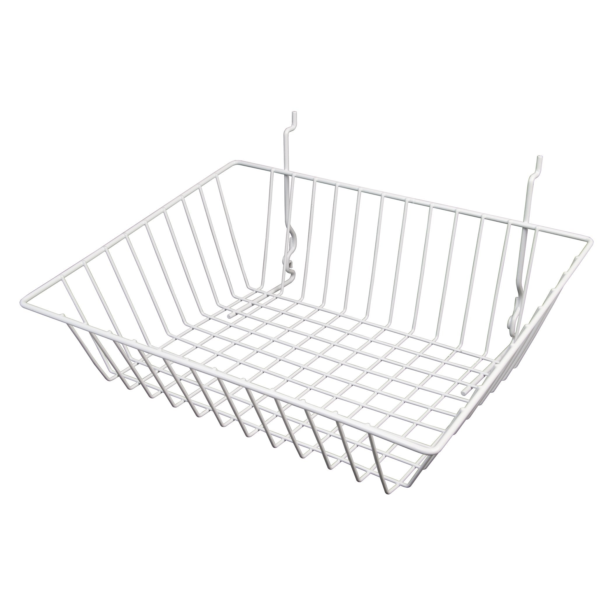 Econoco - White Multi-Fit Sloping Wire Basket for Slatwall, Pegboard or Gridwall (Set of 6) Metal Semi-Gloss Basket, White