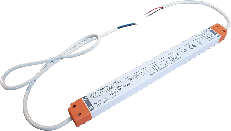 DC 12 V max 5 A Netzteil SLIM 19 mm schmal Transformator Konstantspannung LED Trafo 12V DC sehr flach 0-60W