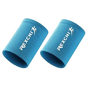 Cooling Wristbands, Fitness Sports Sweat Absorbent Polyester Wristband Breathable Ice Sweatband for Adults Men Women Yoga Tennis Basketball Cycling Running Gym (2 pcs) (Blue, S)