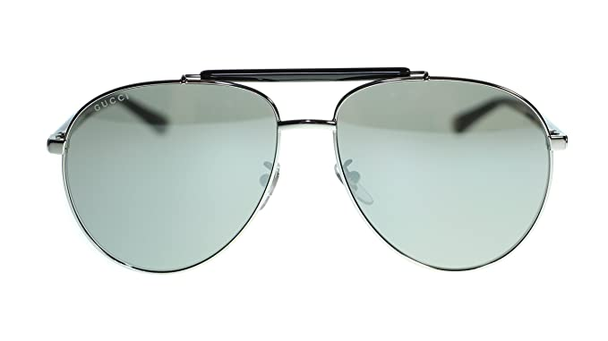 250463c3f8464 Image Unavailable. Image not available for. Colour  Gucci Mens Aviator  Sunglasses GG0014S 001 Ruthenium ...
