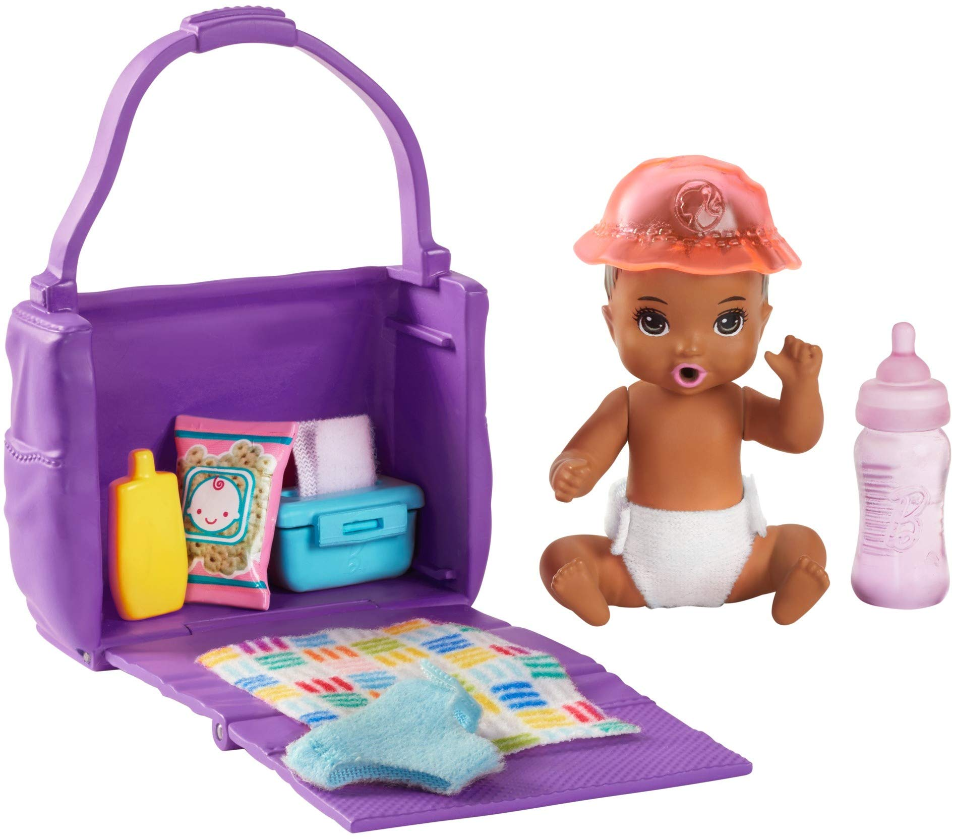 Barbie Skipper Babysitters Inc. Feeding and Changing Playset with Color-Change Baby Doll, Diaper Bag and Accessories