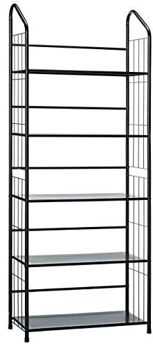 Unbrand Black 5 Tier Metal Bookshelf Rack,