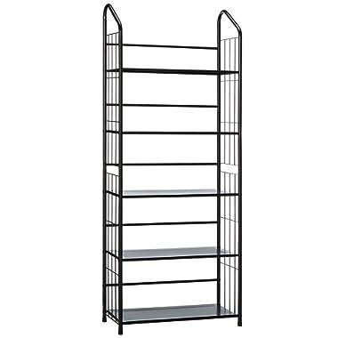 unbrand FT-597BK-5 Black 5 Tier Metal Bookshelf Rack,